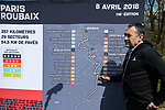 Race Director Thierry Gouvenou ASO with a map of the course at the Trouee d'Arenberg during the reconaissance of the pave sectors before the 2018 Paris-Roubaix. 3rd April 2018.<br /> Picture: ASO/P.Ballet | Cyclefile<br /> <br /> <br /> All photos usage must carry mandatory copyright credit (© Cyclefile | ASO/Pauline Ballet)
