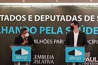 SÃO PAULO, SP, 10.06.2021 - POLÍTICA-SP - Carlão Pignatari, Deputado Estadual (PSDB/SP) e Presidente da Assembléia Legislativa do Estado de São Paulo, e Cauê Macris, Secretário Estadual da Casa Civil de São Paulo, anunciam investimentos na área da Saúde de 427 municípios paulistas, incluindo a capital São Paulo, na Assembléia Legislativa do Estado de São Paulo - ALESP, nesta quinta-feira, 10. (Foto Charles Sholl/Brazil Photo  Press)