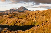 Sunset over Mount Ngaruhoe, Tongariro National Park, Central Plateau, North Island, UNESCO World Heritage Area, New Zealand, NZ