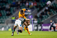 21st May 2021; Twickenham, London, England; European Rugby Challenge Cup Final, Leicester Tigers versus Montpellier; Guy Porter of Leicester Tigers tackles Anthony Bouthier of Montpellier Rugby