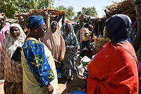 NIGER, Dorf Namaro, Fatouma Marie-Therése Djibo zu Besuch in ihrem Heimatdorf auf dem Markt