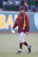 Arizona State Sun Devils Head Coach Tim Esmay during a game against the UCLA Bruins at Jackie Robinson Stadium on March 28, 2014 in Los Angeles, California. UCLA defeated Arizona State 7-3. (Larry Goren/Four Seam Images)