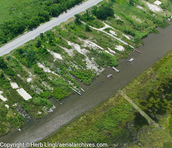 aerial photograph of building pad from houses destroyed by Hurricane Katrina, New Orleans, Louisiana