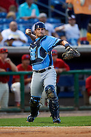 Charlotte Stone Crabs catcher Nick Ciuffo (14) throws to first during a game against the Clearwater Threshers on April 12, 2016 at Bright House Field in Clearwater, Florida.  Charlotte defeated Clearwater 2-1.  (Mike Janes/Four Seam Images)