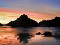 Sunset at low tide. Seal Rock, Oregon
