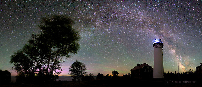 Au Sable Light Station, Milky Way, Aurora, Airglow, pano