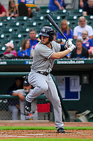 Colorado Springs Sky Sox outfielder Brett Phillips (8) at bat during a Pacific Coast League game against the Iowa Cubs on June 22, 2018 at Principal Park in Des Moines, Iowa. Iowa defeated Colorado Springs 4-3. (Brad Krause/Four Seam Images)