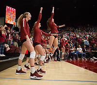STANFORD, CA - NOVEMBER 17: Stanford, CA - November 17, 2019: Holly Campbell, Kate Formico, Sidney Wilson at Maples Pavilion. #4 Stanford Cardinal defeated UCLA in straight sets in a match honoring neurodiversity. during a game between UCLA and Stanford Volleyball W at Maples Pavilion on November 17, 2019 in Stanford, California.