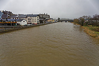 Pictured: Raised water levels of river Towy during high tide in Carmarthen, Wales, UK. Wednesday 10 March 2021<br /> Re: Strong gales are expected in places in areas of Wales.<br /> Coastal and hilly areas could see gusts of up to 70mph.<br /> There a warning in place from 9pm on Wednesday to 3pm on Thursday, with heavy showers also forecast.