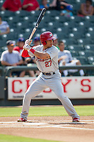Memphis Redbirds outfielder Thomas Pham (27) at bat during the first game of a Pacific Coast League doubleheader against the Round Rock Express on August 3, 2014 at the Dell Diamond in Round Rock, Texas. The Redbirds defeated the Express 4-0. (Andrew Woolley/Four Seam Images)