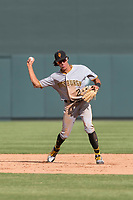 Surprise Saguaros shortstop Cole Tucker (2), of the Pittsburgh Pirates organization, throws to first base during an Arizona Fall League game against the Salt River Rafters at Salt River Fields at Talking Stick on October 23, 2018 in Scottsdale, Arizona. Salt River defeated Surprise 7-5 . (Zachary Lucy/Four Seam Images)