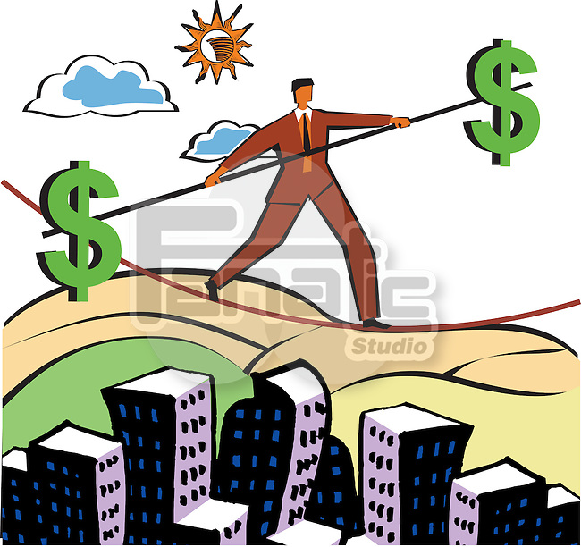 Businessman walking on a tightrope with a pole with dollar signs on ends