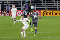 ST PAUL, MN - OCTOBER 28: Brent Kallman #14 of Minnesota United FC heads the ball during a game between Colorado Rapids and Minnesota United FC at Allianz Field on October 28, 2020 in St Paul, Minnesota.