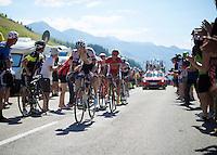 Warren Barguil (FRA/Giant-Alpecin) crossing the last mountain climb of the day; the Col de Peyresourde (Cat1/1569m/7.1km at 7.8%)<br /> <br /> stage 8: Pau - Bagnères-de-Luchon, 184km<br /> 103rd Tour de France 2016