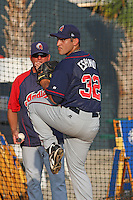 Paolo Espino of the Kinston Indians warming up in the bullpen before facing the Myrtle Beach Pelicans on June 9, 2009 in Myrtle Beach, SC.