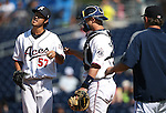 Reno Aces' Yuhei Nakaushiro reacts to being pulled from the game against the Tacoma Rainiers at Greater Nevada Field in Reno, Nev., on Sunday, Aug. 28, 2016. <br /> Photo by Cathleen Allison
