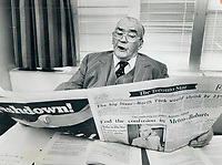 1978<br />  FILE PHOTO - ARCHIVES -<br /> <br /> Looking over Star report on Robarts findings; 82-year-old Fred Gardiner; Metro Toronto's first chairman; paid tribute to the former Ontario premier for a very careful and conscientious job. But he is absolutely opposed to Robarts proposal that Metro Council take over running of Toronto Transit Commission; and that it run the 6;500-member police force without a police commission. He felt Metro fire departments should be amalgamated.<br /> <br /> <br /> Bezant, Graham<br /> Picture, 1977, <br /> <br /> 1978<br /> <br /> PHOTO : Graham Bezant - Toronto Star Archives - AQP