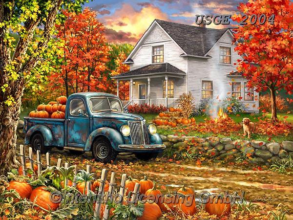 Dona Gelsinger, LANDSCAPES, LANDSCHAFTEN, PAISAJES, paintings+++++,USGE2004,#l#, EVERYDAY ,countryside,harvest,autumn,truck ,puzzle,puzzles
