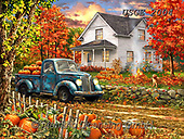 Dona Gelsinger, LANDSCAPES, LANDSCHAFTEN, PAISAJES, paintings+++++,USGE2004,#l#, EVERYDAY ,countryside,harvest,autumn,truck ,puzzle,puzzles
