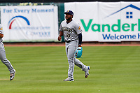 Montgomery Biscuits right fielder Moises Gomez (21) jogs up to the dugout after the game against the Tennessee Smokies on May 9, 2021, at Smokies Stadium in Kodak, Tennessee. (Danny Parker/Four Seam Images)