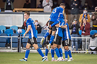 SAN JOSE, CA - MAY 01: San Jose Earthquakes players celebrate the goal of Cade Cowell #44 of the San Jose Earthquakes during a game between San Jose Earthquakes and D.C. United at PayPal Park on May 01, 2021 in San Jose, California.