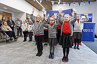 Pictured: Pupils from Danygraig School perform a song. Monday 04 February 2019<br /> Re: Opening of the Computational Foundry at the Swansea University Bay Campus, south Wales, UK.