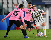 Football Soccer: UEFA Champions League -Group Stage-  Group G - Juventus vs FC Barcellona, Allianz Stadium. Turin, Italy, October 28, 2020.<br /> Juventus' Dejan Kulusevski (r) in action with Barcellona Pedri (c) and Clement Lenglet (l) during the Uefa Champions League football soccer match between Juventus and Barcellona at Allianz Stadium in Turin, October 28, 2020.<br /> UPDATE IMAGES PRESS/Isabella Bonotto