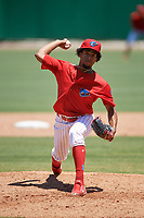 Clearwater Threshers starting pitcher Adonis Medina (18) delivers a pitch during a game against the Fort Myers Miracle on April 25, 2018 at Spectrum Field in Clearwater, Florida.  Clearwater defeated Fort Myers 9-5. (Mike Janes/Four Seam Images)