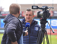 Head Coach Dave Mattheus  of AA Gent gives an interview before a female soccer game between  AA Gent Ladies and Oud Heverlee Leuven on the fourth matchday of play off 1 in the 2020 - 2021 season of Belgian Scooore Womens Super League , saturday 1 st of May 2021  in Oostakker , Belgium . PHOTO SPORTPIX.BE | SPP | STIJN AUDOOREN