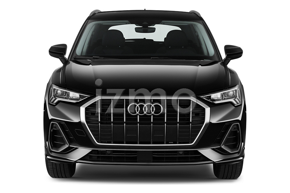 Car photography straight front view of a 2021 Audi Q3 S-line 5 Door SUV Front View
