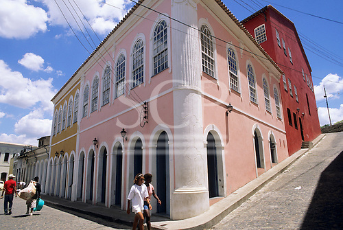 Cachoeira, Bahia, Brazil. Brightly painted colonial buildings on a cobbled street.