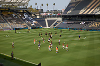 LOS ANGELES, CA - AUGUST 22: The Los Angeles Galaxy and Los Angeles Football Club warming prior to their match before a game between Los Angeles Galaxy and Los Angeles FC at Banc of California Stadium on August 22, 2020 in Los Angeles, California.