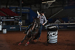 Wenda Johnson during the second round of barrel qualifiers at the WCRA Stampede at the E. Photo by Andy Watson