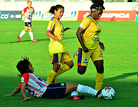 BARRANQUILLA - COLOMBIA, 25-10-2020: Atletico Junior y Deportivo Pasto, durante partido por la fecha 2 de la Liga Femenina BetPlay DIMAYOR 2020 jugado en el estadio Alfonso Lopez en la ciudad de Bucaramanga. / Atletico Junior and Deportivo Pasto, during a match for the 2nd date of the Women's League BetPlay DIMAYOR 2020 played at the Alfonso Lopez stadium in Bucaramanga city. / Photo: VizzorImage / Jairo Cassiani / Cont.