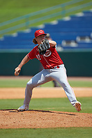 Garrett Harker (32) of Lebanon HS in Lebanon, IN playing for the Cincinnati Reds scout team during the East Coast Pro Showcase at the Hoover Met Complex on August 5, 2020 in Hoover, AL. (Brian Westerholt/Four Seam Images)