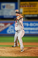 New Britain Rock Cats pitcher Ryan Arrowood (27) delivers a pitch during a game against the Reading Fightin Phils on August 7, 2015 at FirstEnergy Stadium in Reading, Pennsylvania.  Reading defeated New Britain 4-3 in ten innings.  (Mike Janes/Four Seam Images)