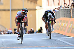 Diego Ulissi (ITA) UAE Team Emirates outsprints Peter Sagan (SVK) Bora-Hansgrohe to win Stage 2 of the 103rd edition of the Giro d'Italia 2020 running 149km from Alcamo to Agrigento, Sicily, Italy. 4th October 2020.  <br /> Picture: LaPresse/Gian Mattia D'Alberto | Cyclefile<br /> <br /> All photos usage must carry mandatory copyright credit (© Cyclefile | LaPresse/Gian Mattia D'Alberto)