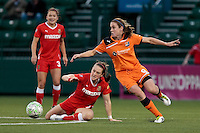 Brittany Bock (21) left, of The Western New York Flash and Heather O'Reilly (9) of Sky Blue FC. The Western New York Flash defeated Sky Blue FC 3-1 in Women's Professional Soccer (WPS) at Sahlen's Stadium in Rochester, NY May 06, 2011.