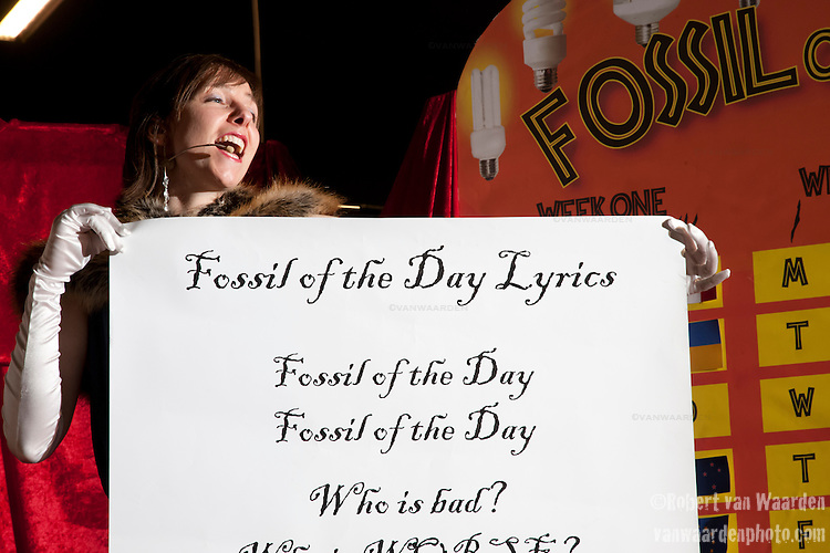 Katherine Trajan sings the Fossil of the Day anthem at the Fossil of The Day awards on Monday, Dec. 14. (Images free for Editorial Web usage for Fresh Air Participants during COP 15. Credit: Robert vanWaarden)