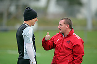 FAO SPORTS PICTURE DESK<br /> Pictured: Manager Brendan Rodgers (R) with team captain Garry Monk (L). Thursday 12 January 2012<br /> Re: Premier League football side Swansea City FC training session at Llandarcy, south Wales.