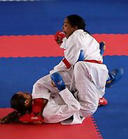 BARRANQUILLA - COLOMBIA, 27-07-2018: DIAZ M. Karina A. ( Republica Dominicana) vs GARCES S. Claudymar A. (Venezuela) durante su participación en karate femenino hasta 61 kg como parte de los Juegos Centroamericanos y del Caribe Barranquilla 2018. / DIAZ M. Karina A. (Dominican Republic) vs GARCES S. Claudymar A. (Venezuela) during their participation in women's kartate under 61kg of the Central American and Caribbean Sports Games Barranquilla 2018. Photo: VizzorImage /  Cont