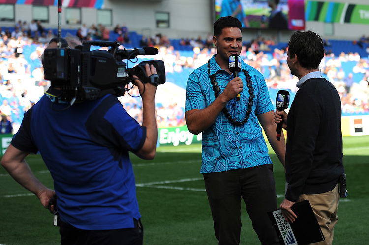 Dan Leo commentating pitchside during Match 6 of the Rugby World Cup 2015 between Samoa and USA - 20/09/2015 - Brighton Community Stadium, Brighton <br /> Mandatory Credit: Rob Munro/Stewart Communications