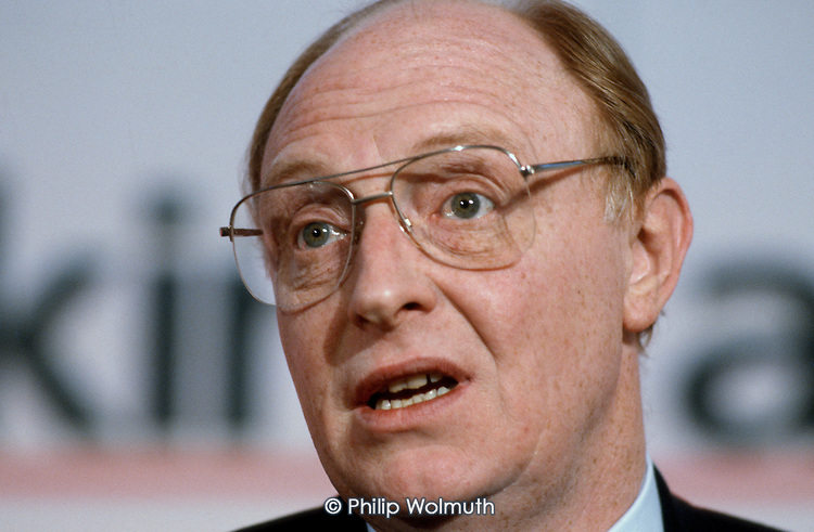 Neil Kinnock MP, leader of the Labour Party, speaks at a pre-election press conference.