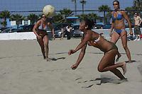 Saturday, May 3 2008, Ocean Beach, California, USA.  West Coast Beach Volleyball Tournament Amber Schaffer, Diane Johansen, Esther Kim and Maygan Fowler watch as a ball heads towards the line during play at the West Coast Volleyball Tournament.