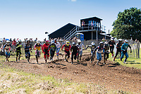 The start of the Richard Fitch Memorial, where the riders run to their bikes in the start area to begin the race during the Richard Fitch Memorial Trophy Motocross at Wakes Colne MX Circuit on 18th July 2021