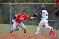 Illinois State Redbirds Mason Snyder (7) stretches for a throw as Austin Shirley (8) runs through the bag during a game against the Georgetown Hoyas on March 7, 2015 at North Charlotte Regional Park in Port Charlotte, Florida.  Illinois State defeated Georgetown 2-1.  (Mike Janes/Four Seam Images)