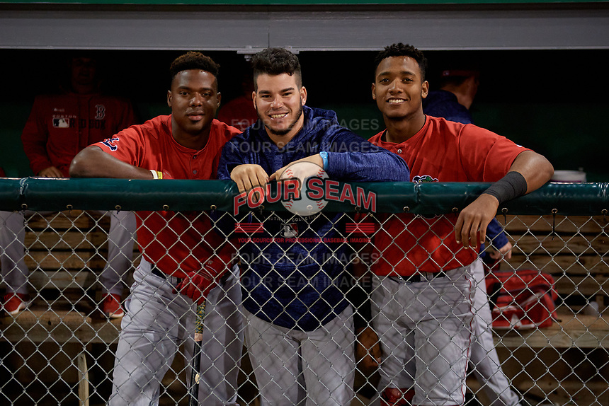 Lowell Spinners (L-R) Marino Campana, Yusniel Padron-Artilles, and Jonathan Diaz during a NY-Penn League Semifinal Playoff game against the Batavia Muckdogs on September 4, 2019 at Dwyer Stadium in Batavia, New York.  Batavia defeated Lowell 4-1.  (Mike Janes/Four Seam Images)