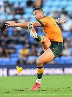 2nd October 2021, Cbus Super Stadium, Gold Coast, Queensland, Australia;  Quade Cooper kicks a penalty. Australian Wallabies versus Argentina Pumas. Rugby Championship test match. Rugby Union. Gold Coast, Australia.