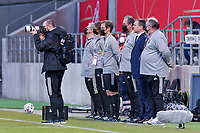 Belgian staff pictured before a friendly female soccer game between the national teams of Germany and  Belgium , called the Red Flames  in a pre - bid tournament called Three Nations One Goal with the national teams from Belgium , The Netherlands and Germany towards a bid for the hosting of the 2027 FIFA Women's World Cup , on Sunday 21 st of February 2021  in Aachen , Germany . PHOTO SPORTPIX.BE   SPP   STIJN AUDOOREN