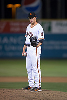 San Jose Giants relief pitcher Tyler Schimpf (46) during a California League game against the Modesto Nuts at San Jose Municipal Stadium on May 15, 2018 in San Jose, California. Modesto defeated San Jose 7-5. (Zachary Lucy/Four Seam Images)